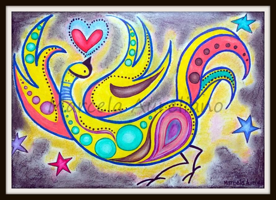 Gravura Título: Pássaro apaixonado Técnica: aquarela e pastel oleoso